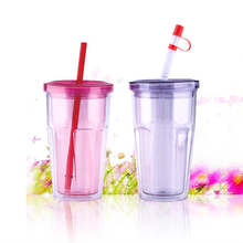16oz clear double wall reusable plastic cup with straw