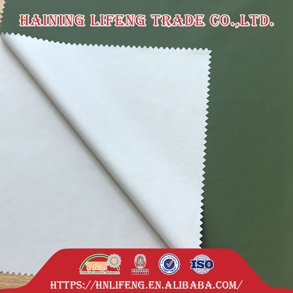 spandex waterproof chromatic shiny weft knitted polyester pongee Pe coated leather stretch pu fabric pu coated fabric
