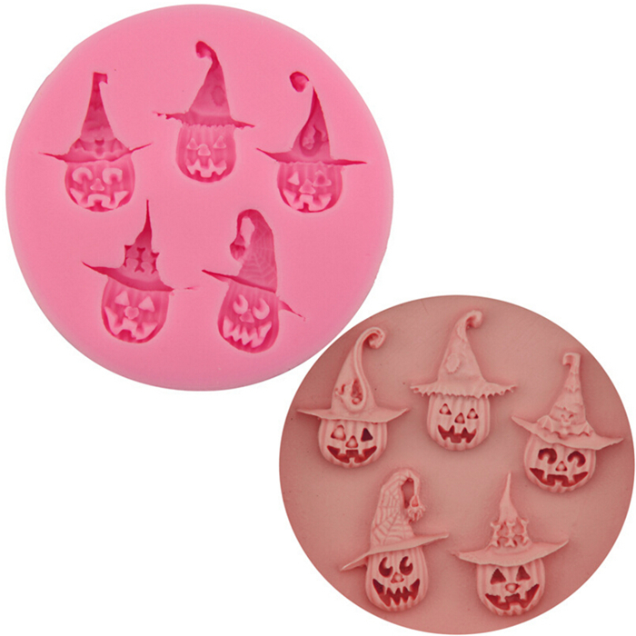 5 cavity 3D Halloween Skeleton pumpkin silicone chocolate molds