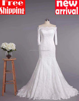 2015 Free shipping Trumpet/Mermaid Off-the-shoulder Sweep/Brush Train france lace zipper Wedding Dress 16106