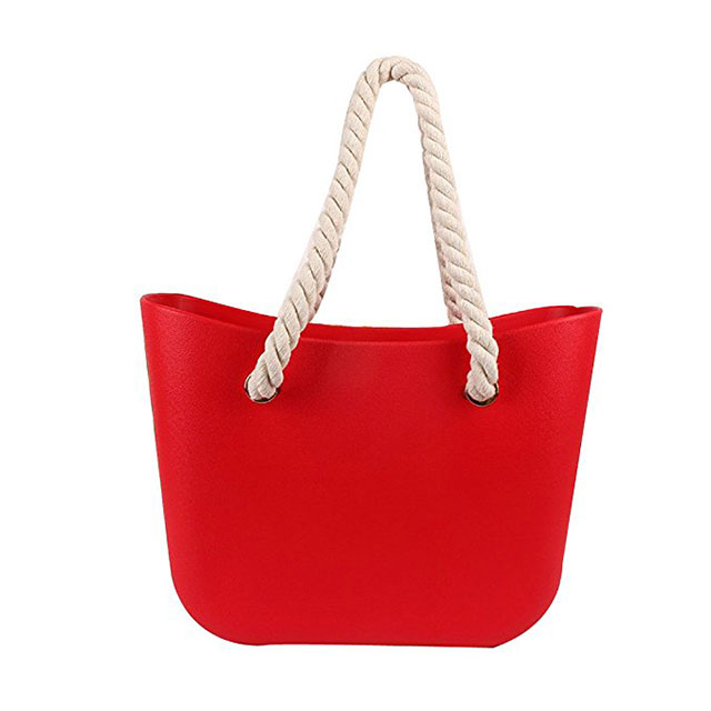 Ladies Stylish Candy Color Silicone Beach Bag With Hemp Rope - Buy ...