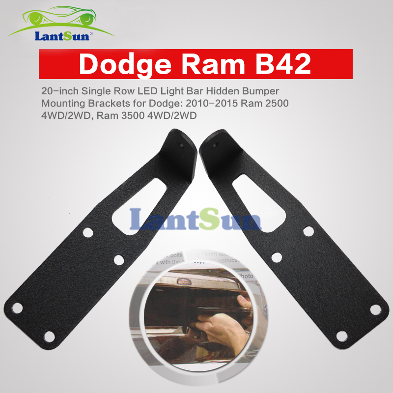 20 inch Single Row LED Light Bar Hidden Bumper Mounting Brackets for Ram Dodge B42