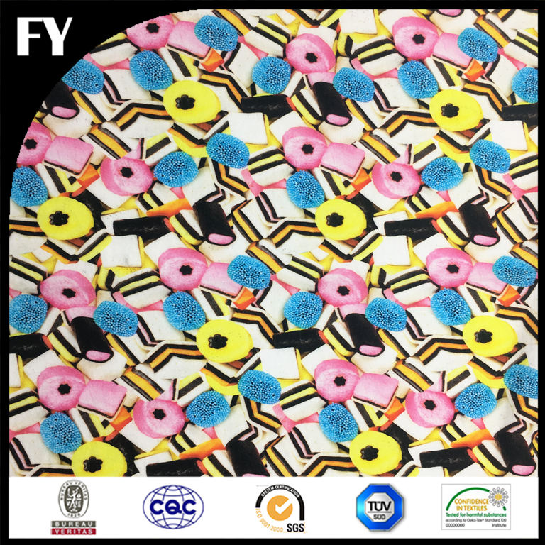 95/5 custom digital printing lycra cotton single jersey fabric