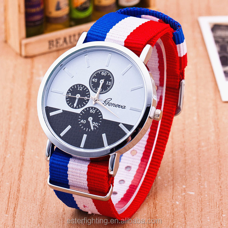3 Eyes Unisex Nylon Strap Analog Ladies Geneva Quartz Cute Couple Watch