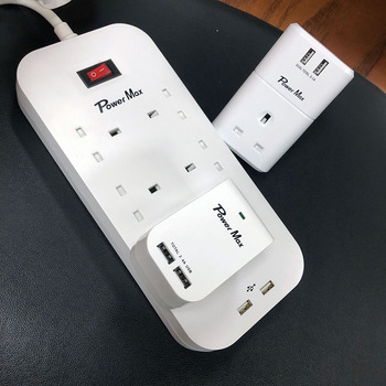 Main Extension Lead, 6 Way Universal Outlets Power Strip Surge Protector with 4 Smart USB Ports Charging iPad iPod Smart