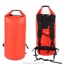 50L Red 500D PVC Tarpaulin Waterproof Dry Bag Backpack, Foldable Duffel Bag For Traveling