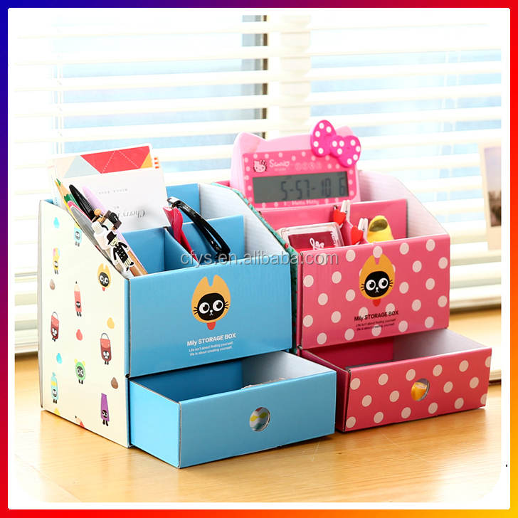 3 Colors Choices DIY Paper carboard trays Stationery Makeup Cosmetic Desk Organizer Storage Box