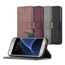 S7 Case Leather , Folio Magnetic Wallet Card Flip Phone Case For Samsung Galaxy S7