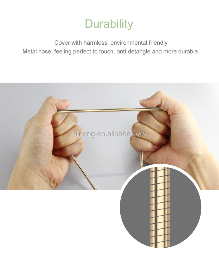 New Design Super Speed micro usb Gold silver android chargeing data cable
