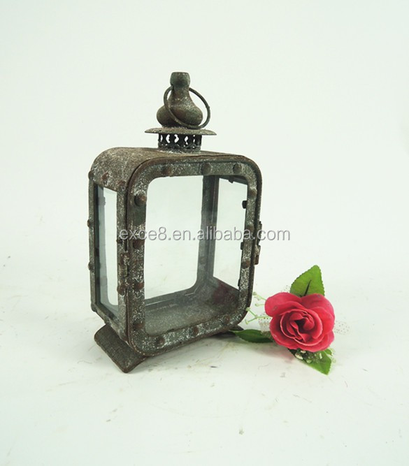 French outdoor metal garden candle lantern
