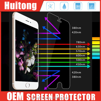 Anti-blue light mobile phone screen protectors for iPhone in 9H hardness 0.33mm HD clear tempered glass