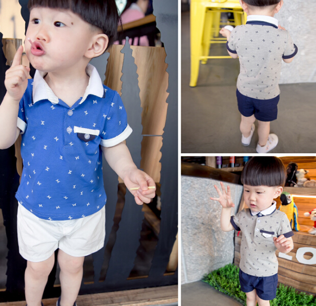 S11006A 2015 europea style casual kids polo shirts+shorts sport clothing sets
