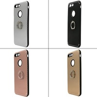 New Carbon Fiber Pattern TPU Cell Phone Case for Iphone 5 and 5s with Ring Holder Acceptable custom LOGO