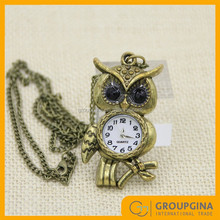 Wholesale Etched Pocket Owl Watch Necklace