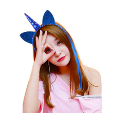 Latest cat ear unicorn <strong>headband</strong> with wigs,fancy hair accessories princess flower unicorn <strong>headband</strong>