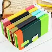 DHL Hit Contrast Painting Stand Wallet PU Leather Cheap Mobile Phone Cases for Samsung S5 With Card Holder