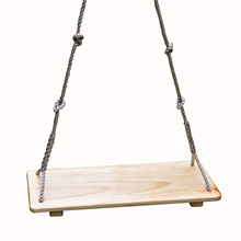 Kids playing wooden baby swing seat with adjustbale rope