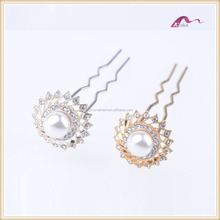2017 winter High Quality Fashion design Hair Stick with Crystal and Pearl hair clip for women