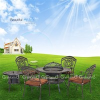 cast aluminum patio garden furniture with BBQ grill