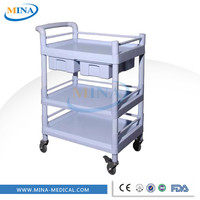 MINA-UT015 ABS hospital medical trolley furniture moving trolley