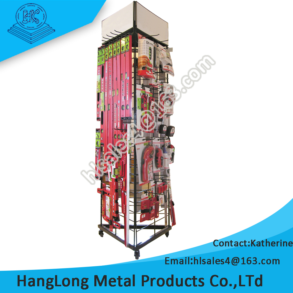 commerical use durable triangle rotating display stand with hook