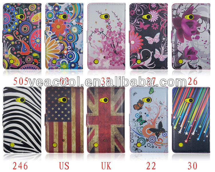 Flower Series Magnetic Flip Wallet Leather Stand Case Cover for Nokia Lumia 720