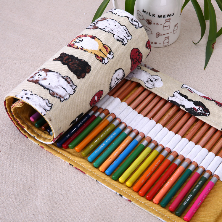 Kids Love Pretty Dog Canvas High-capacity Stationery 36 Holes Pencil Case Bag