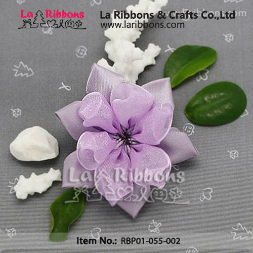 Hand Made Purple Ribbon Flower For Garment