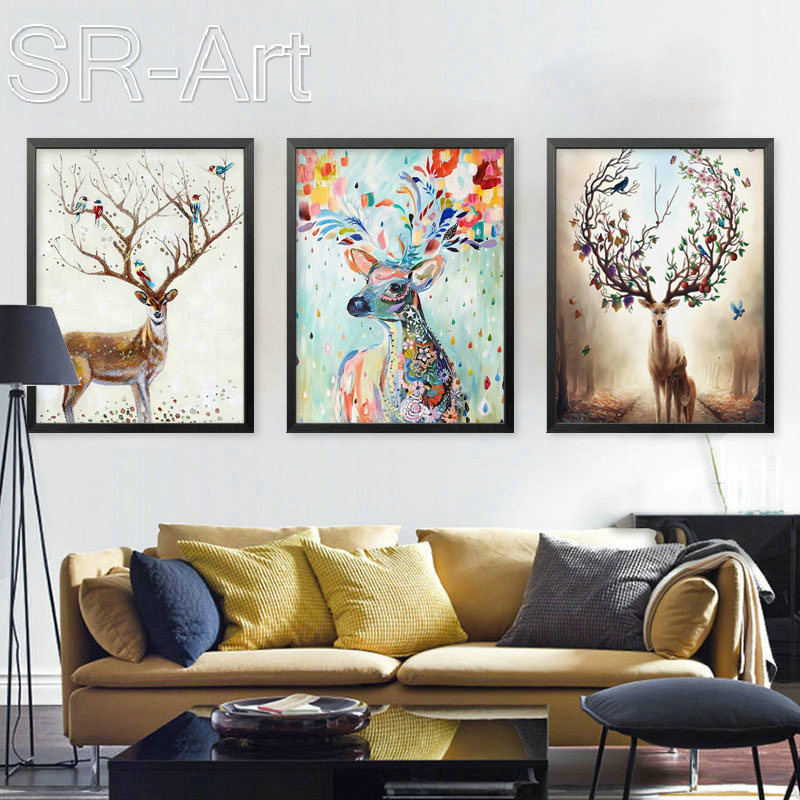 Modern Elk Pictures Watercolor Paintings Abstract Wall Art Animal Canvas Print Arts Cuadros Decoracion Poster