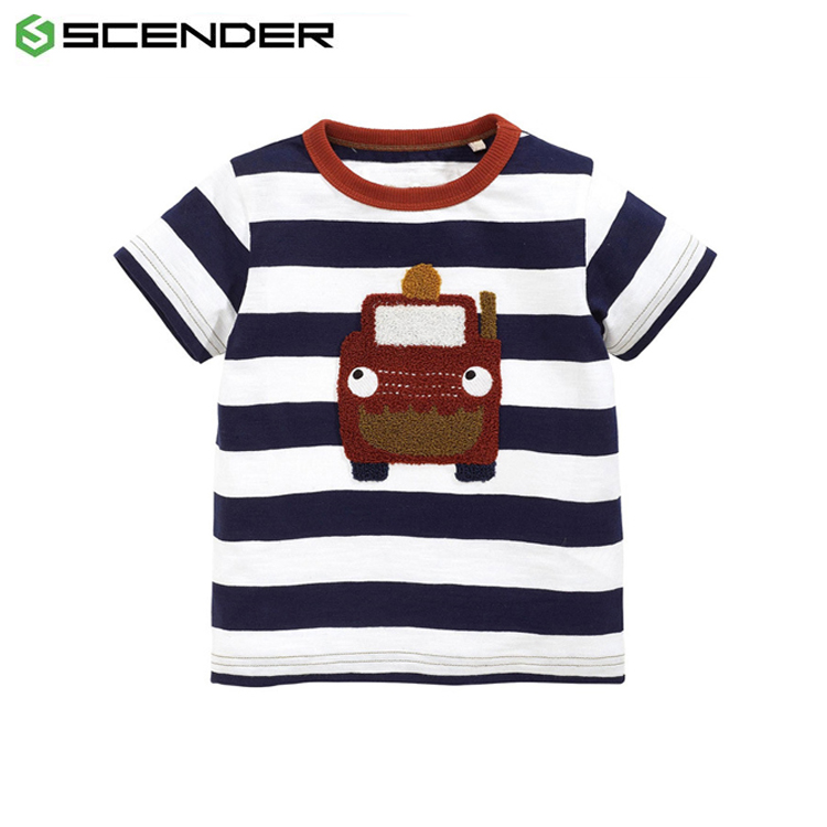 New style 100% cotton emb soft fashion boy's t shirt