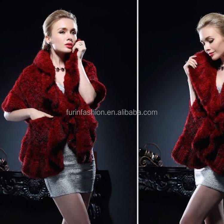 2017/2018 New Product Genuine Knitted Mink Fur Stole for Fashion Ladies with Cheap Price Wrap