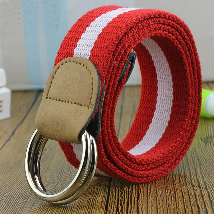 dp754 Red White Red Striped D ring Women Belts Canvas PU