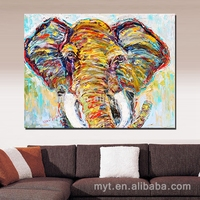 Elephant hand paint wall art pictures for living room dropshipping art decorative house painting