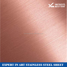 rose gold hairline surface finish stainless steel sheet price sus 304