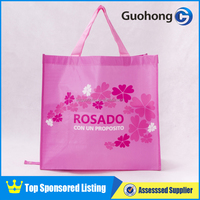 Gorgeous pink flower recycled foldable non-woven shopping bag