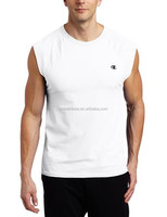 Cheap Wholesale Customized High Quality Mens White 100% Polyester Sleeveless Plain Dry Fit Sports T-Shirt