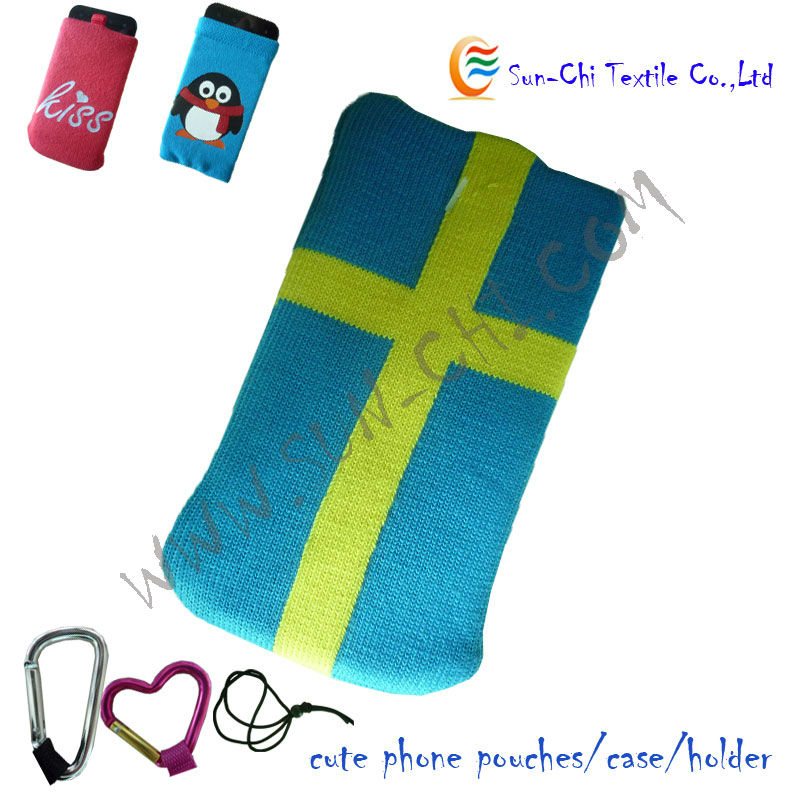 hot knitted phone pouch bag,holder,case