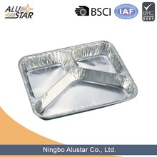 3 compartment deep aluminum foil food container