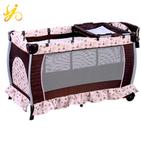 EN716 Baby foldable playpen bed / good quality of play yard cribs / new design baby cot bed