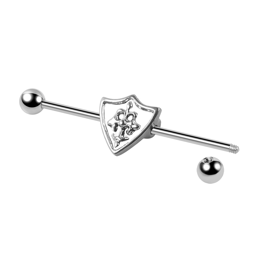 Silver Factory Price  Stainless Steel Shield Plated Ear Cartilage Industrial Barbell Body Jewelry