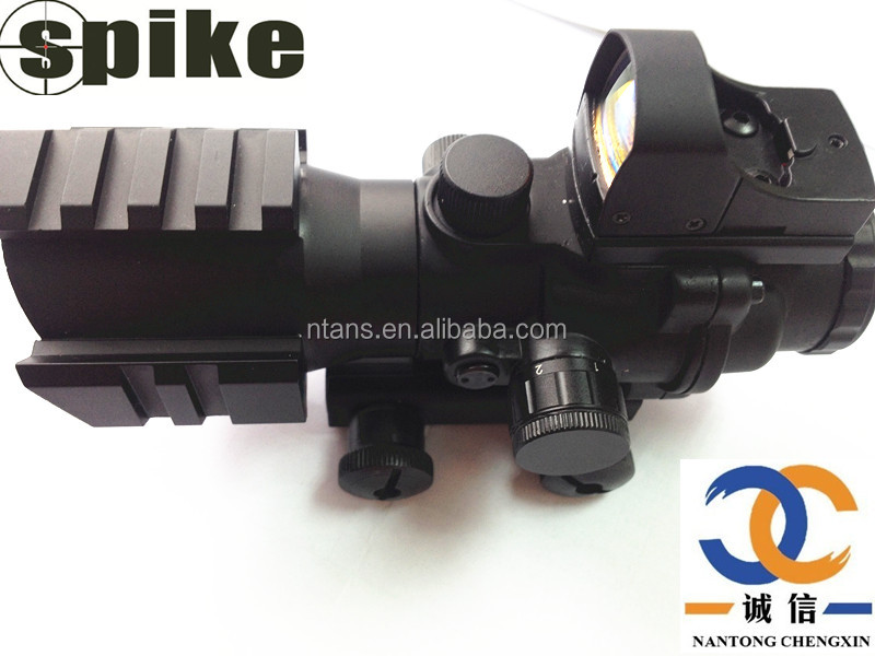 2in1 Brand SPIKE Tactical Rifle Scope 4x32 Horseshoe Reticle with Quick Release + Mini Reflex Red Dot Sight