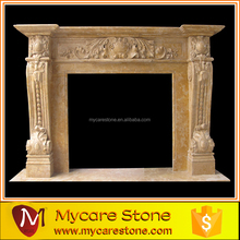 Gold yellow victorian marble fireplace