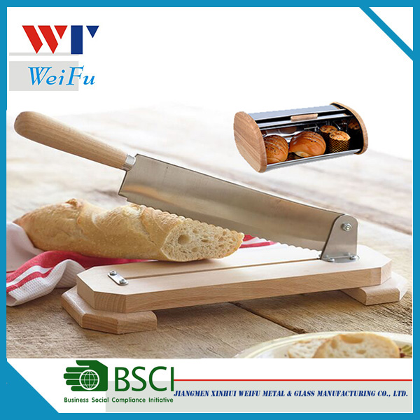 Kitchen bread knife with bamboo handle and bamboo stand