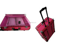 fashion acrylic cosmetic case lighting makeup case with stand and tiered trays