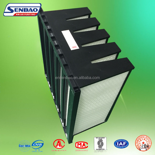 Plastic Face Guard V-Bank Air Filter With High Efficiency