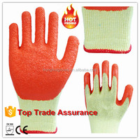 10g polycotton liner latex coated working glove/ safety glove