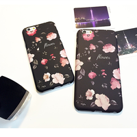TPU retro flower Fresh Look case,environmental material black cover for smart apple iphone 6s