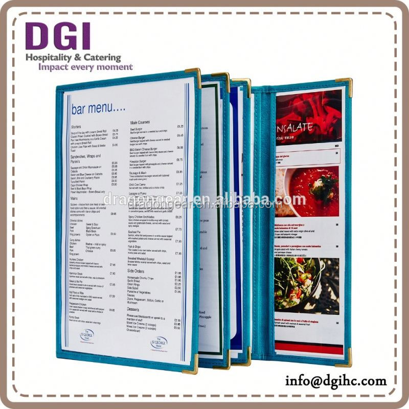 metal card Pocket Menu Cover, cheap fob price food cover printing / drink mixer