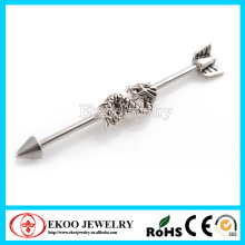 316L Surgical Steel 3D Dragon Unique Industrial Barbell