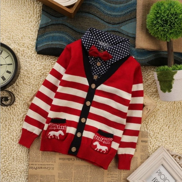 HFR-S1408225 New design hot sale autumn-winter false two pieces baby boy sweater